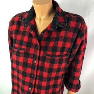 Woolrich women red black checkered wool shirt Sz L
